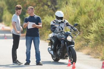 young man begginner riding skill training motordrom