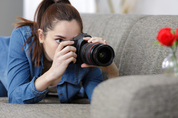 woman talking a photo with dslr photo camera