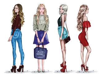 Hand drawn set with beautiful young women in fashion clothes. Stylish girls. Sketch. Vector illustration.