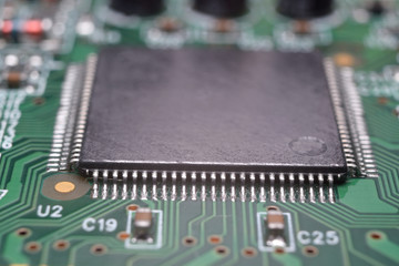 close up of electronic components on pcb board