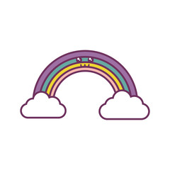 rainbow and clouds icon over white background vector illustration