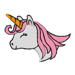 cartoon magical unicorn icon over white background colorful design vector illustration