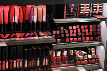Cosmetics display in store