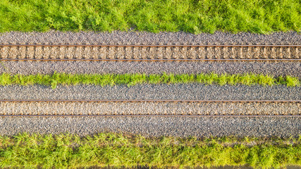 An aerial view of Railroad tracks