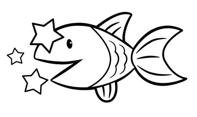 Black And White Water Fish character side. Signs of Zodiac Isolated Pisces Vector Illustration.