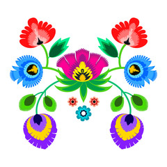 Folk embroidery ornament with flowers. Traditional polish pattern decoration - wycinanka, Wzory Lowickie