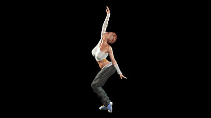 Redhead dancer, short haired girl dancing on black background, 3D illustration