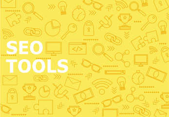 Seo tools background with line icons