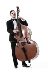 Garden Poster Music Double bass player playing contrabass