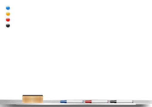 whiteboard background frame with eraser whiteboard, color marker and magnetic, vector illustration