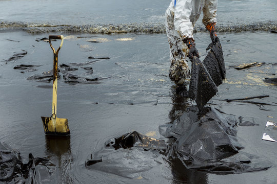 Workers remove and clean up crude oil spilled with absorbent paper