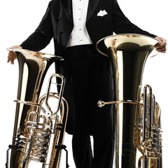 Tuba brass music instrument. Orchestra bass