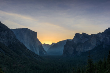 Yosemite Tunnel View Overlook at Sunrise