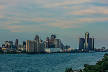 Skyline view of Detroit from Canadian Bridge