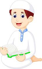 Islamic man cartoon reading book
