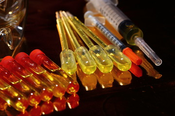 Gold Science Medical R & D, dropper, goggle, syringe, stethoscope, Glass Tube Lab Test tools
