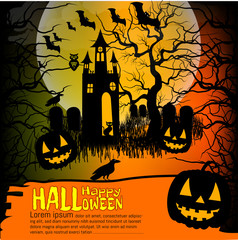Halloween background with pumpkin, haunted house and full moon. for Halloween party. Vector illustration