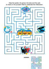Maze game for kids: Help the spider, the ghost, the bats and the cats to meet on the pumpkin field to celebrate the Halloween. Answer included.