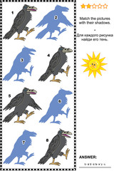 Visual puzzle or picture riddle: Match the pictures of four ravens to their shadows. Answer included.