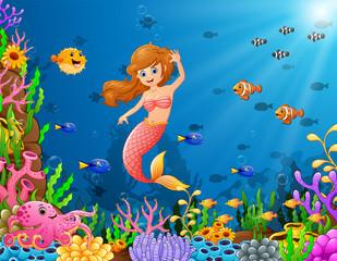 Cartoon mermaid underwater
