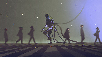 unique concept of robot walking to different way among the people, digital art style, illustration painting