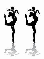 silhouette of a modern gymnast, vector draw