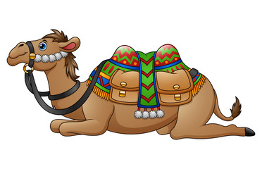 Cartoon camel with saddle