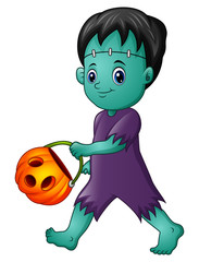 Cartoon Frankenstein with pumpkin basket