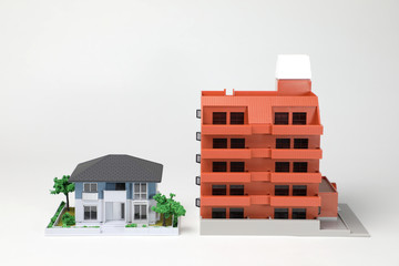 miniature models of house and apartment
