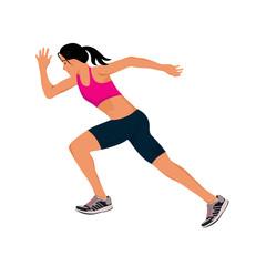 running girl, vector illustration