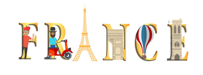 Travel infographic.France infographic, Paris  lettering and famous landmarks ,Discover France concept.