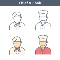 Occupations colorful avatar set: cook, chef, baker. Flat line professions userpic collection. Vector color thin outline icons for user profiles, web design, social networks and infographics.