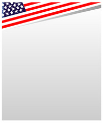 USA flag frame a white empty space for your design.