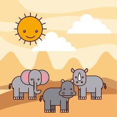 safari different kinds of wild animals vector illustration