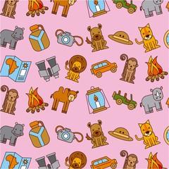 safari africa animlas equipment wallpaper pink background vector illustration