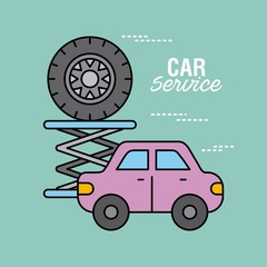 car service vehicle and tire repair support vector illustration