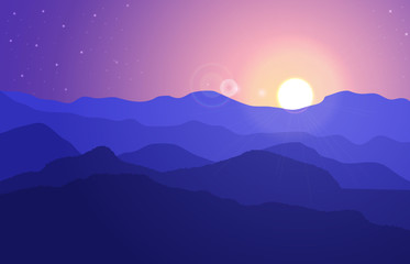 View of the mountain landscape with hills under a purple sky with sun and stars. Vector illustration.