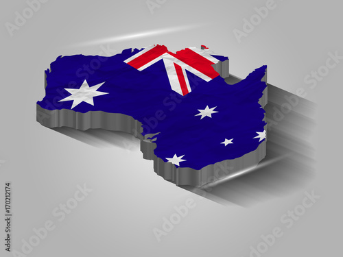 Free 3d Map Of Australia.Australia Map Vector Australia 3d Map With Flag Stock Image And