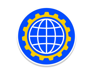 blue circle gear earth globe icon vector
