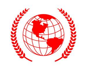 red globe earth world icon vector