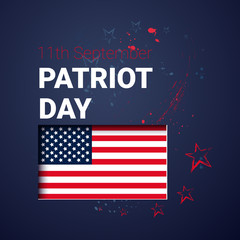 National USA Patriot Day United States Flag Banner Flat Vector Illustration