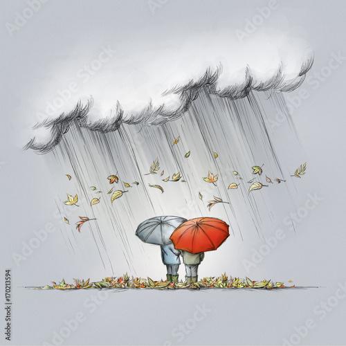 Zwei Personen Mit Regenschirm Im Herbstwetter Stock Photo And