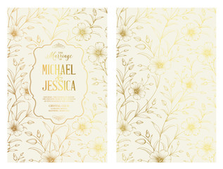 The marriage invitation card design for Michael and Jessica. Lihgt invitation with handmade floral elements in golden style. Botanical Wedding Collection. Vector illustration.