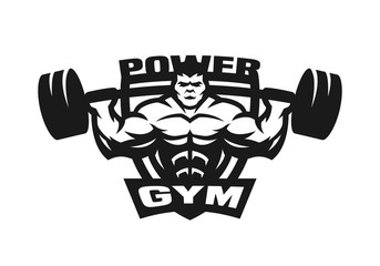Gym monochrome logo, emblem.