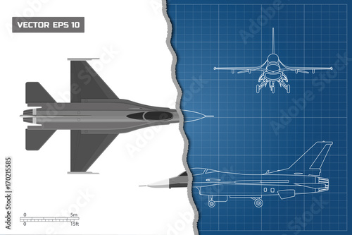 Drawing of military aircraft industrial blueprint top side front drawing of military aircraft industrial blueprint top side front views fighter malvernweather Choice Image