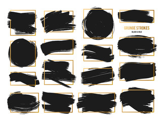 Vector Strokes. Abstract Backhground Set. Black and gold ink paints