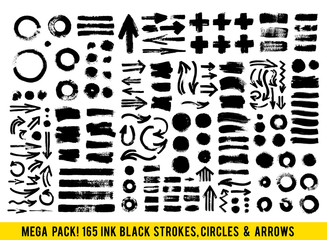 Vector Strokes. Abstract Backhground Set. Black Ink Paints, Dots and Arrows isolated on white background