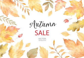 Watercolor vector autumn banner sales isolated on white background.