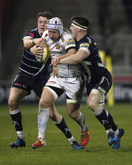 Sale's Sam James in action with Exeter's Thomas Waldron
