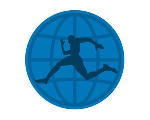 blue globe runner athlete sports silhouette icon vector